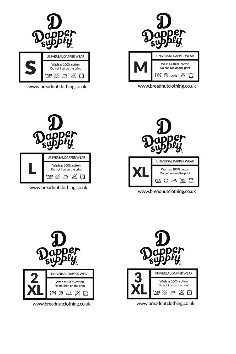 Clothing Care Label Template Entry 1 by Waqas17 for Design A T Shirt Size Labels