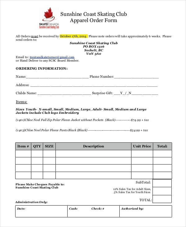 Clothing order form Template 12 Apparel order forms Free Sample Example format