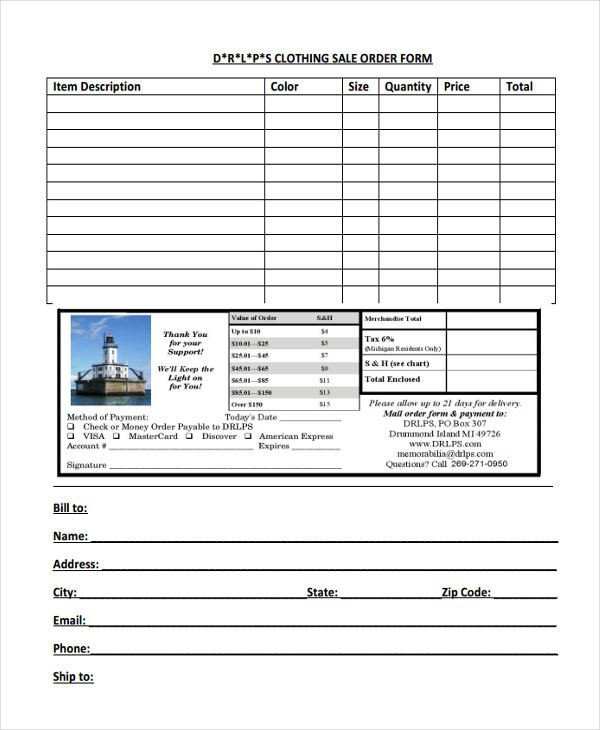 Clothing order form Template 9 Clothing order forms Free Samples Examples format