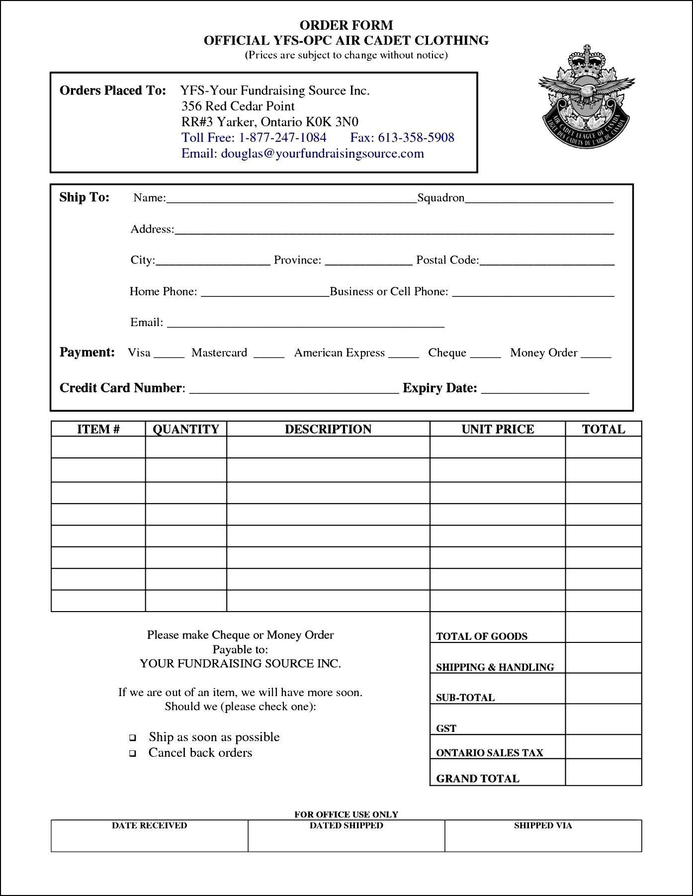 Clothing order form Template Clothing order form Template Free