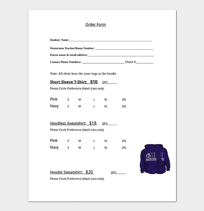 Clothing order form Template T Shirt order form Template 17 Word Excel Pdf