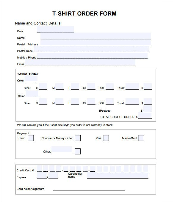 Clothing order form Template T Shirt order form Template