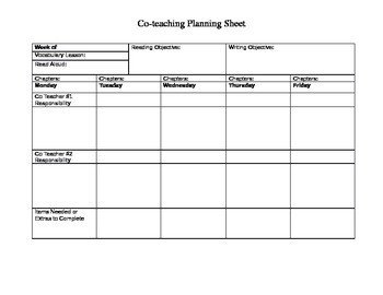 Co Teaching Planning Template Co Teaching Planning Sheet for Ela Teachers by Kristen