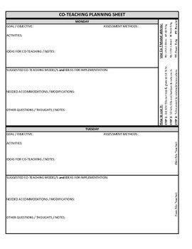 Co Teaching Planning Template Co Teaching Planning Template Version 3 Of 3 by Justin