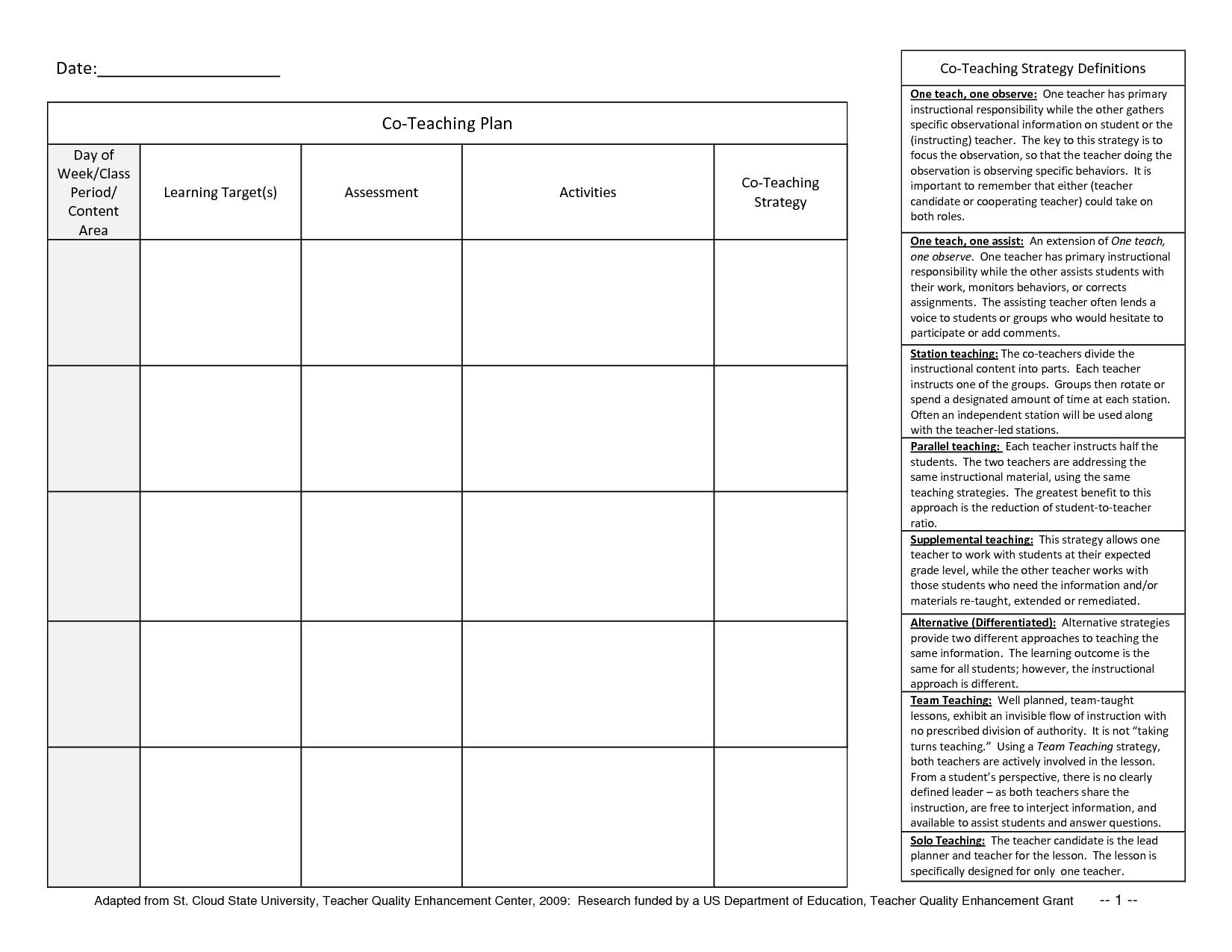 Co Teaching Planning Template Free Teacher Planner Template N72l46bh
