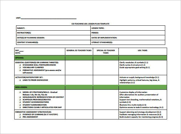 Co Teaching Planning Template Teacher Lesson Plan Template 8 Free Sample Example