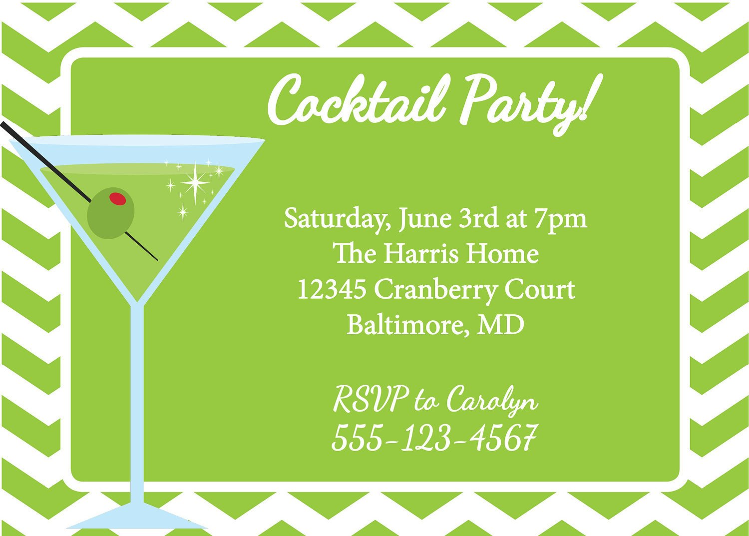 Cocktail Party Invitation Template Martini Invitation Cocktail Party Diy Printable by