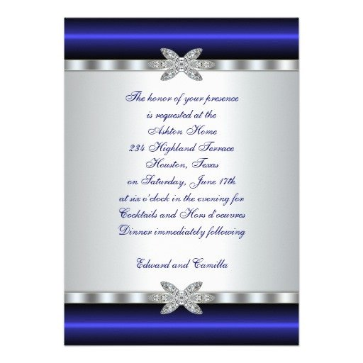 "Cocktail Party Invitation Template Silver & Blue Cocktail Party Invitation Template 5"" X 7"