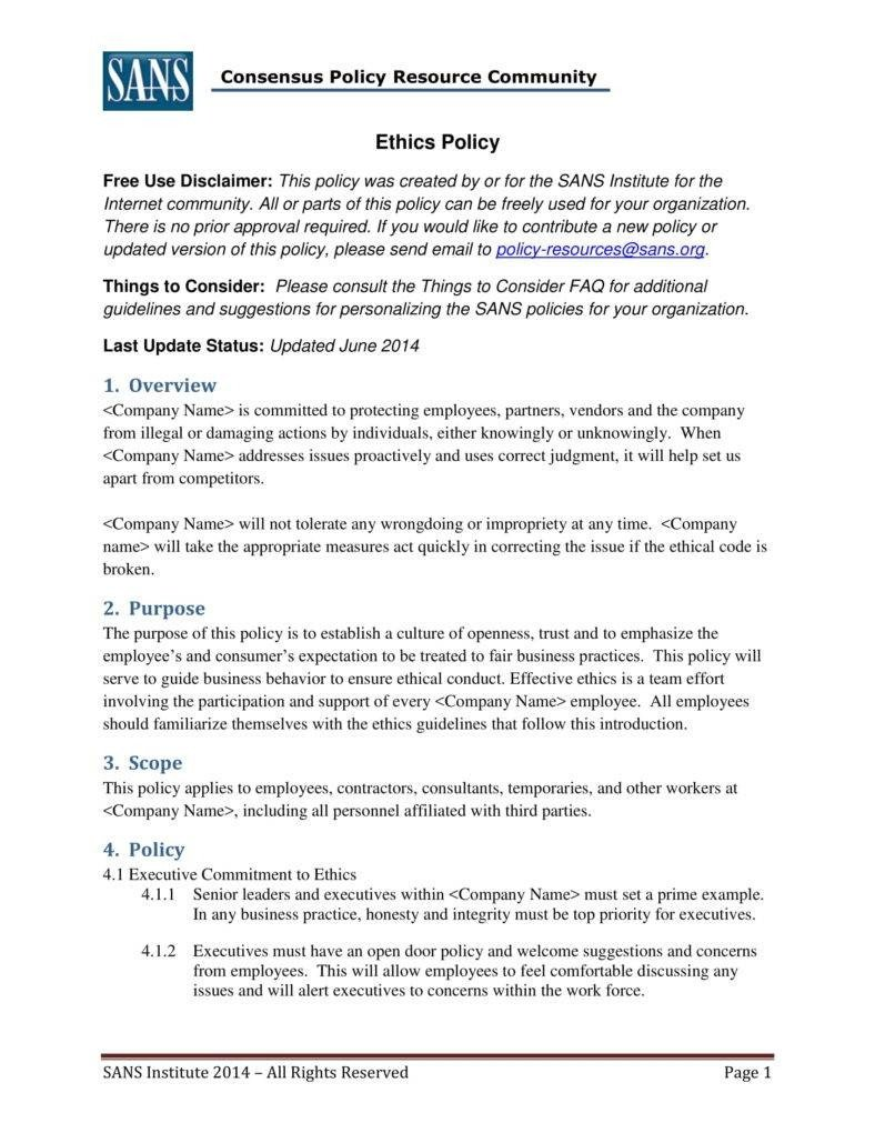 Code Of Ethics Template 7 Business Code Of Ethics Policy Templates