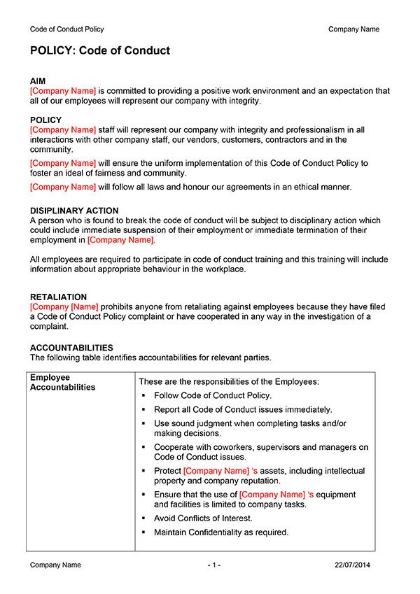 Code Of Ethics Template Code Of Conduct Policy Template