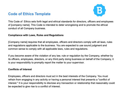 Code Of Ethics Template Code Of Ethics with Examples and Free Template Download