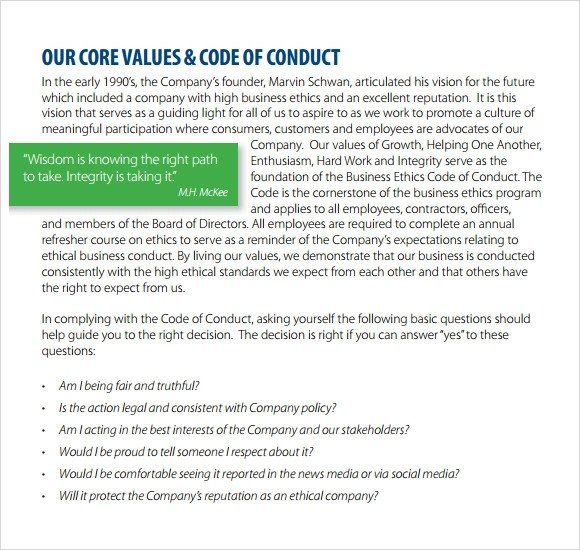 Code Of Ethics Template Sample Code Of Conduct 5 Documents In Pdf
