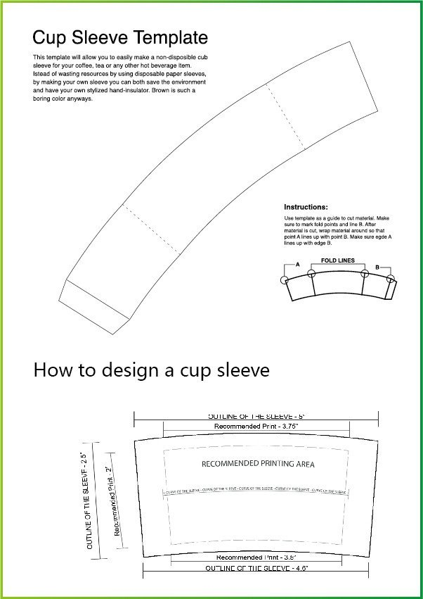 Coffee Sleeve Template Illustrator Take Away Disposable Corrugated Paper Coffee Cup Drink