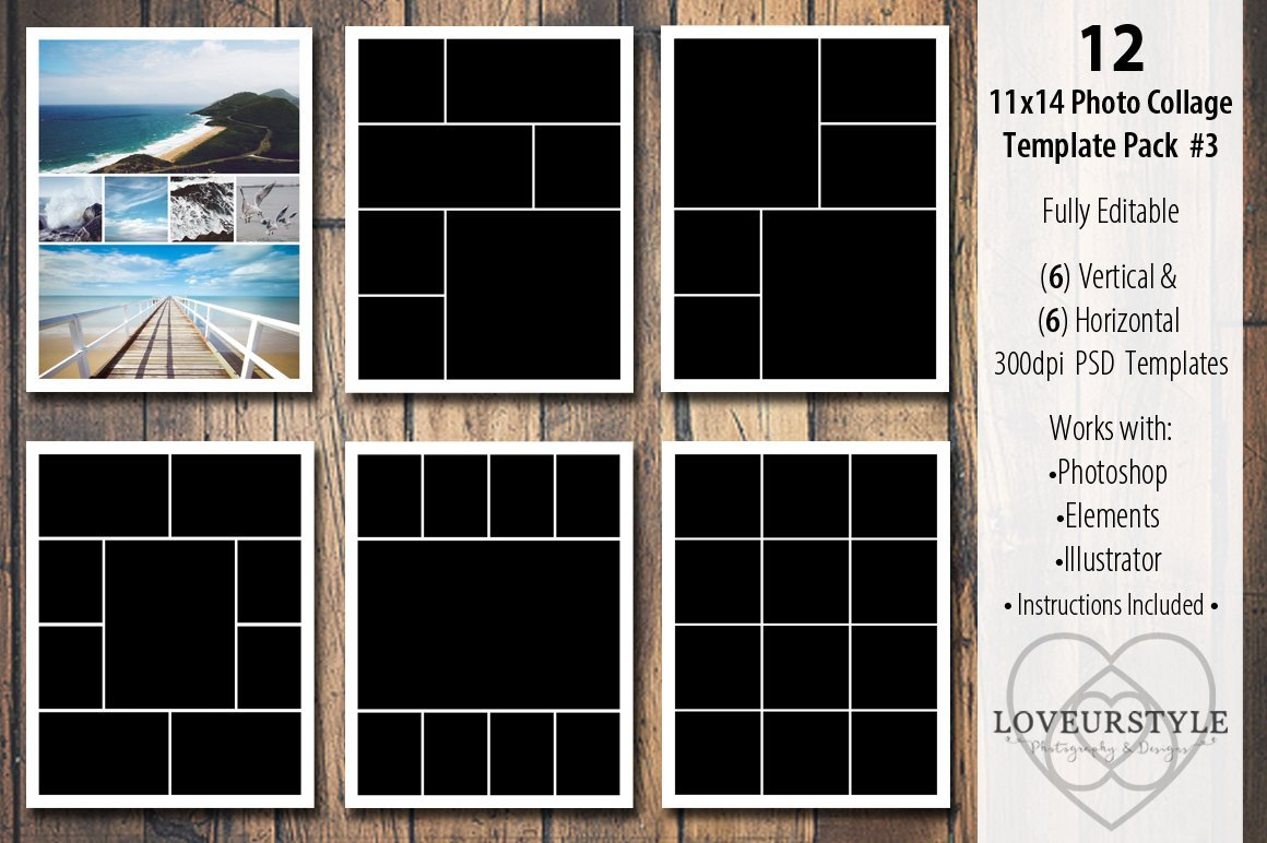 Collage Template for Photoshop 11x14 Collage Template Pack 3 Templates Creative
