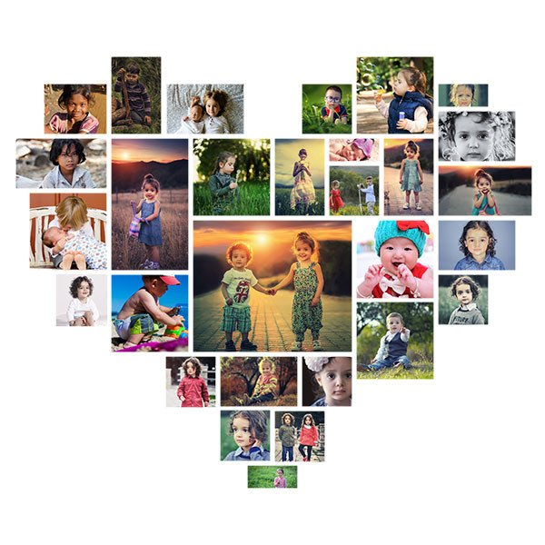 Collage Template for Photoshop Effect Heart Shaped Shop Collage Template
