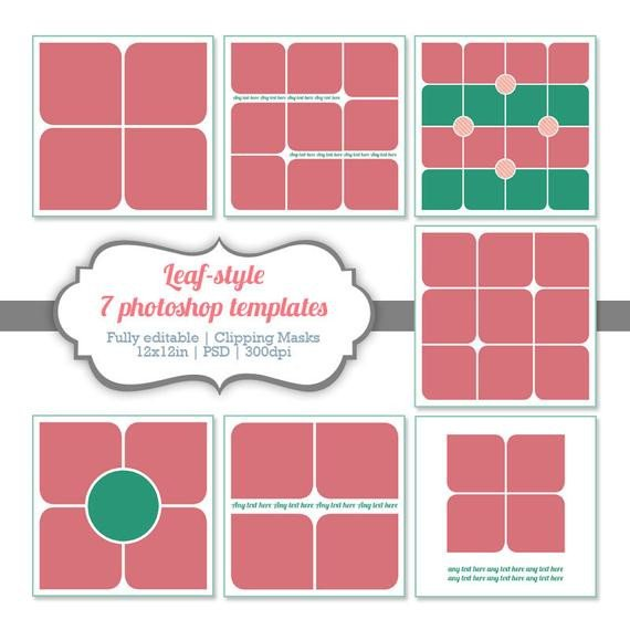 Collage Template for Photoshop Items Similar to Instant Download Shop Templates