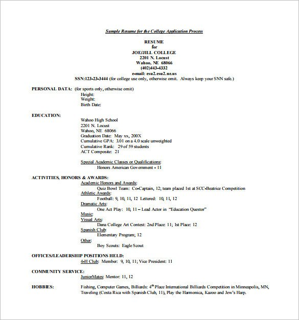 College Admissions Resume Template 12 College Resume Templates Pdf Doc