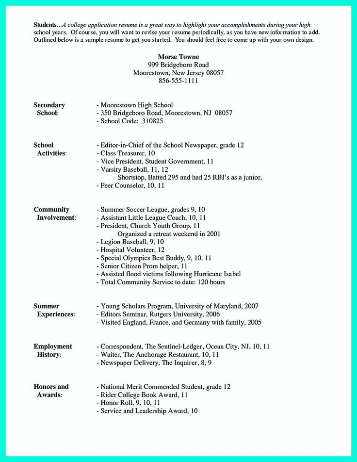 College Admissions Resume Template 25 Best Ideas About High School Resume On Pinterest