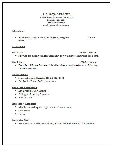 College Admissions Resume Template College Admission Resume Template