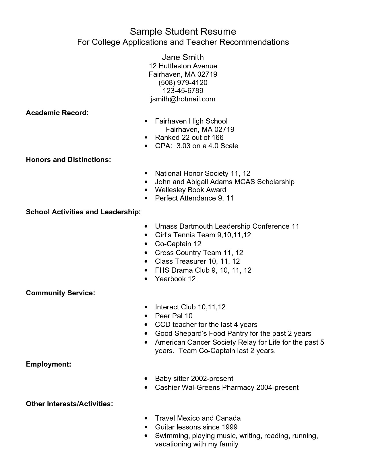 College Admissions Resume Template Example Resume for High School Students for College