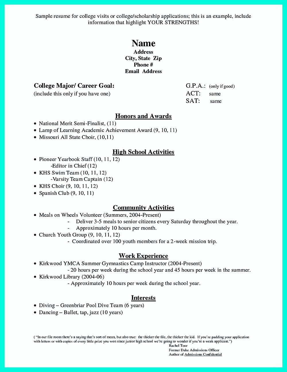 College Admissions Resume Template for High School Students It is sometimes Troublesome to