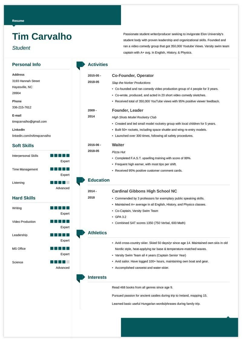 College Admissions Resume Template How to Write A High School Resume for College Application