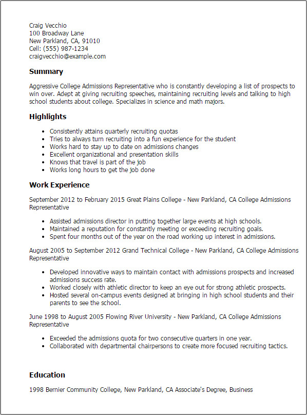 College Admissions Resume Template Professional College Admissions Representative Templates