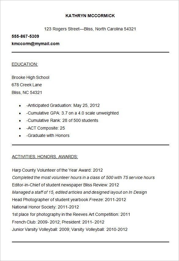 College Admissions Resume Template Resume for College Admission Resume Ideas