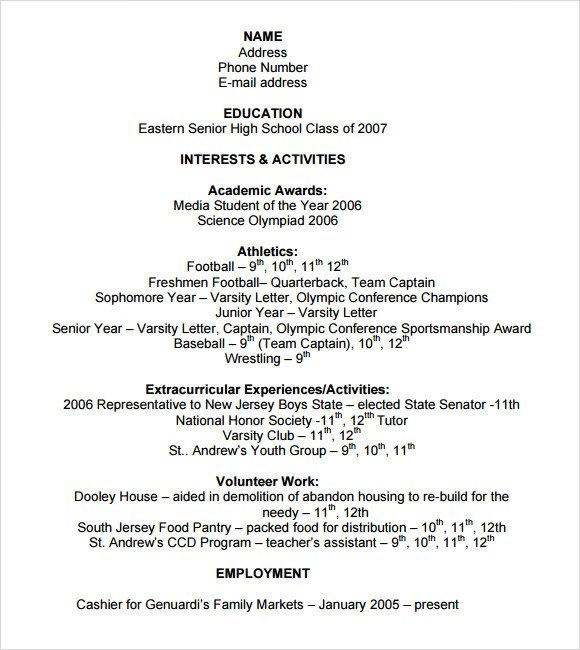 College Admissions Resume Template Sample College Resume 8 Free Samples Examples format