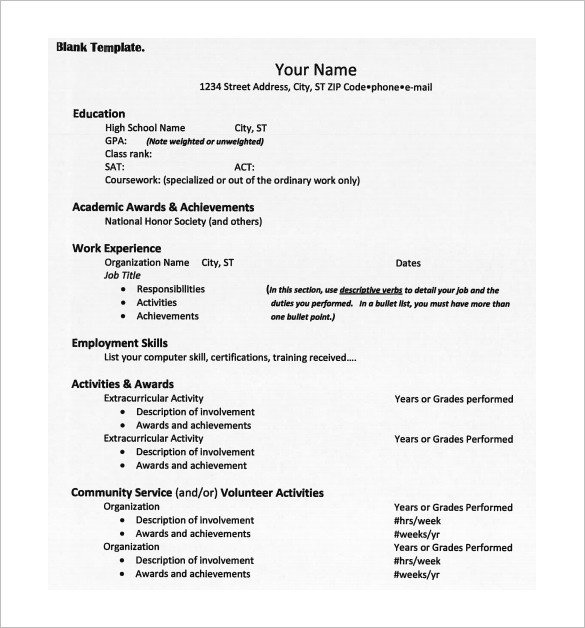 College Admissions Resume Templates 12 College Resume Templates Pdf Doc