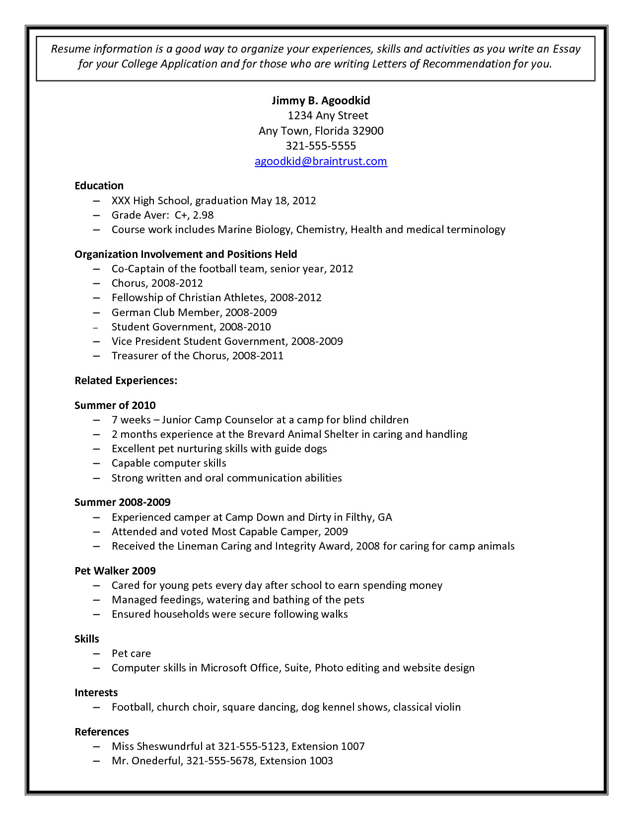 College Admissions Resume Templates College Admission Resume Template