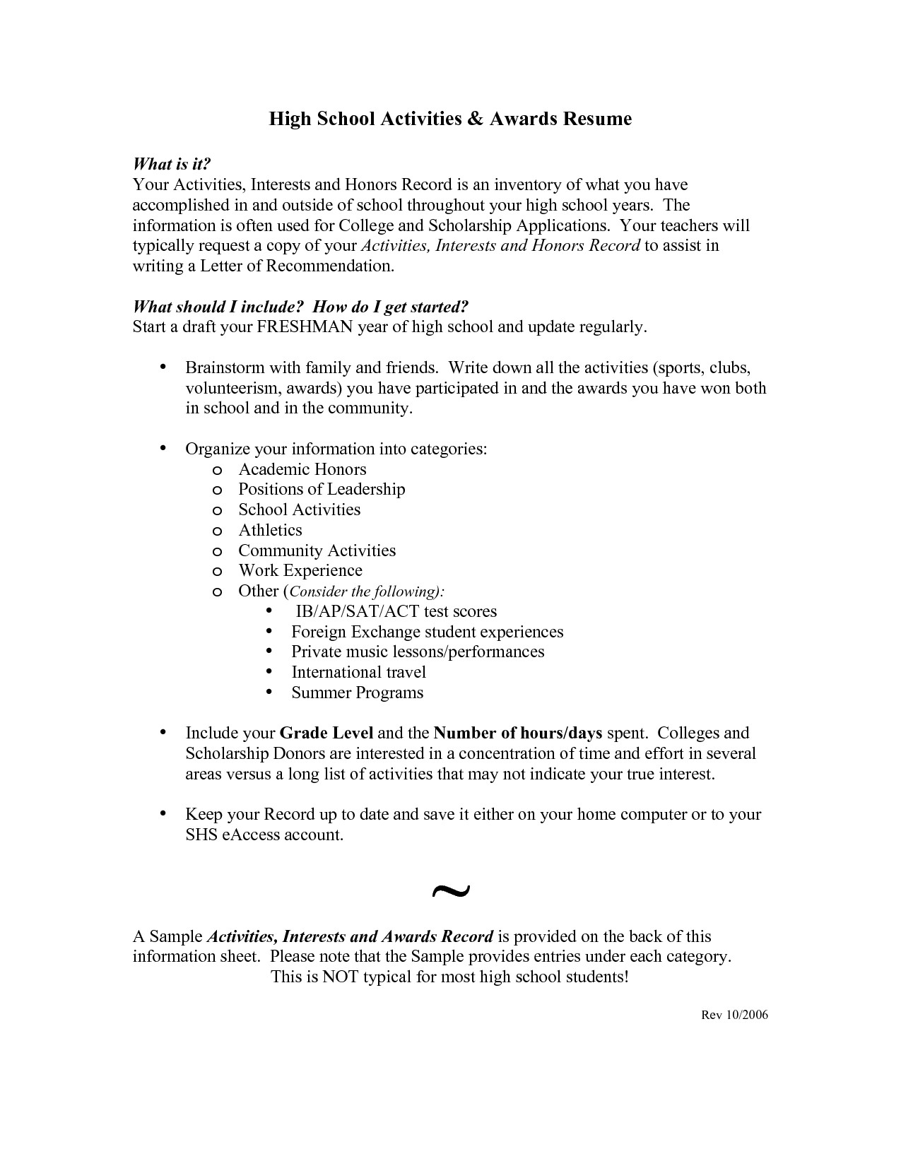 College Admissions Resume Templates Example Resume for High School Student for College