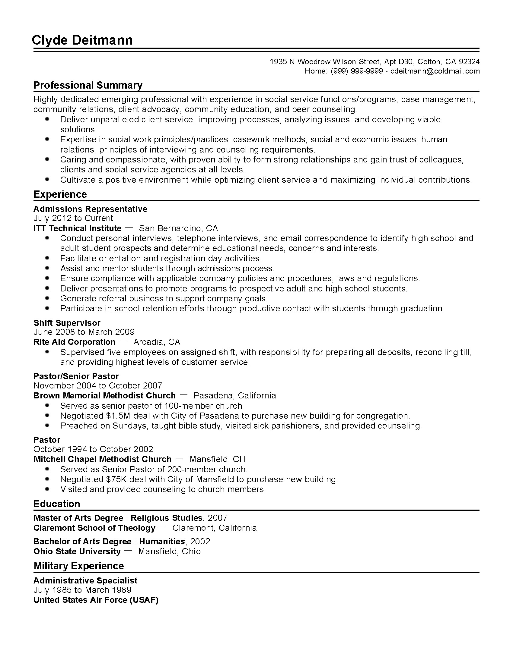 College Admissions Resume Templates Professional Admissions Representative Templates to