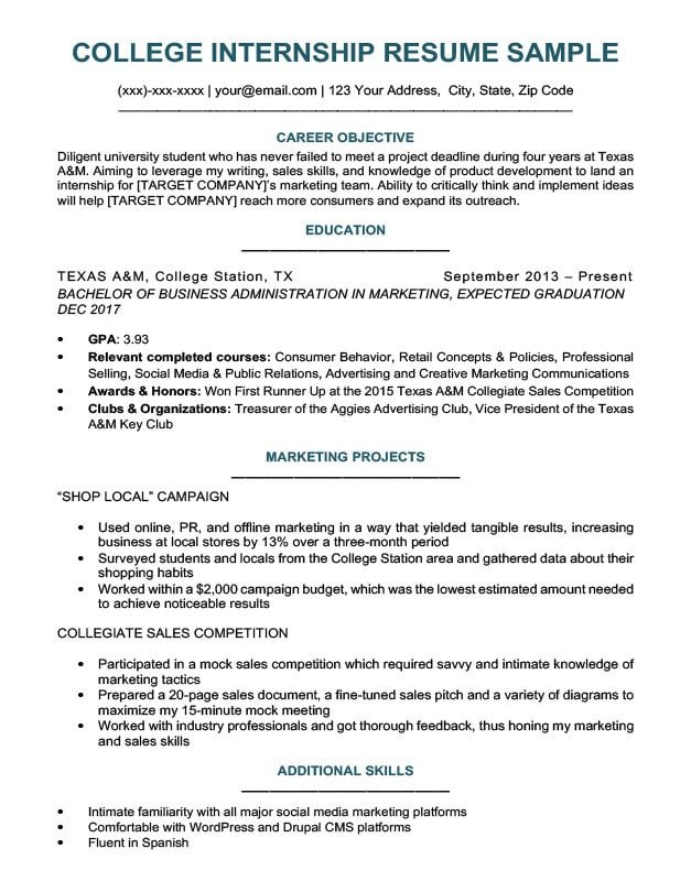 College Freshman Resume Template College Student Resume Sample & Writing Tips