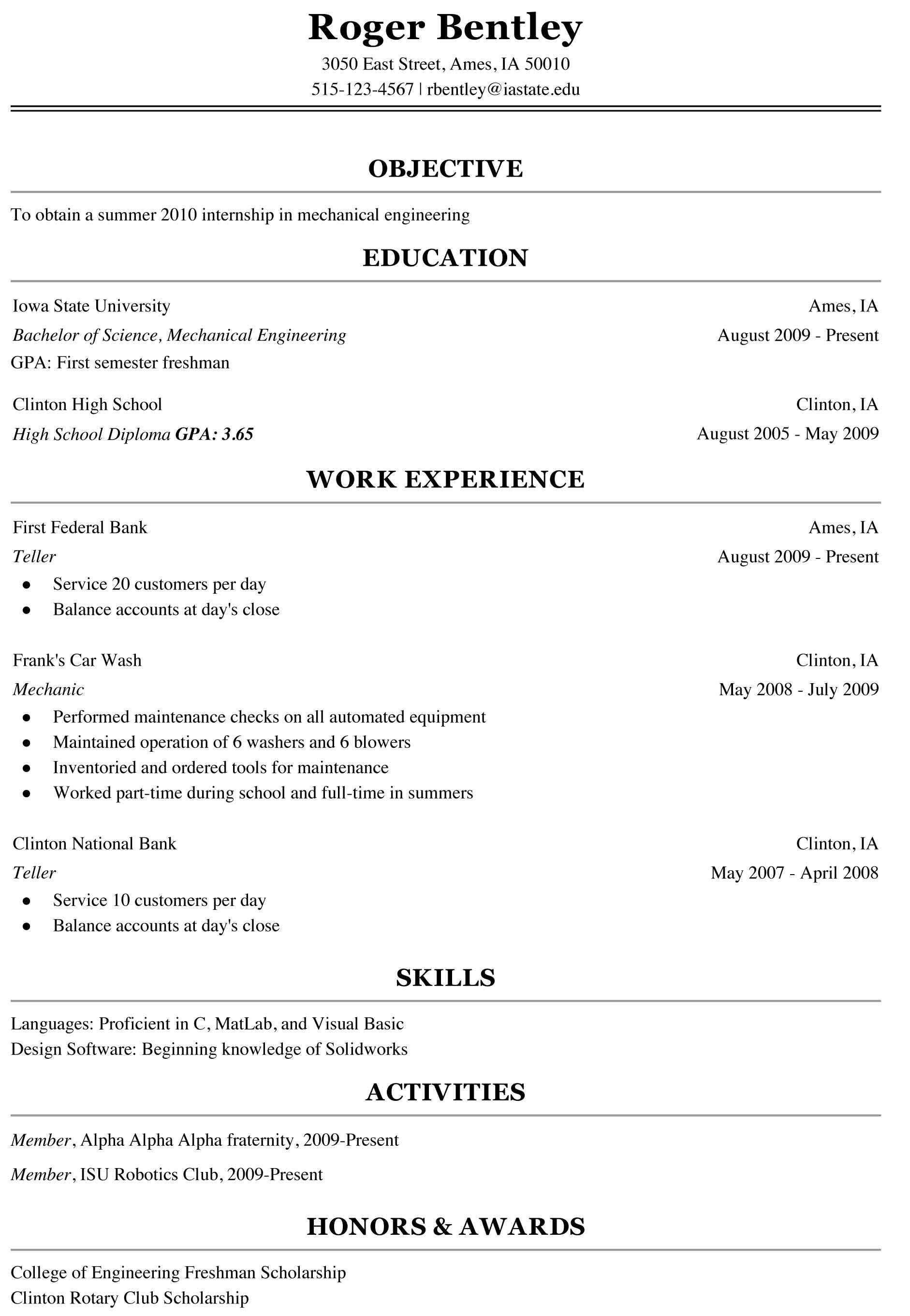 College Freshman Resume Template Freshman College Student Resume Sample