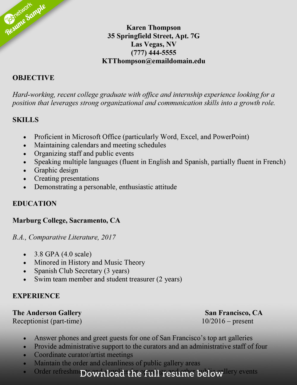 College Freshman Resume Template How to Write A College Student Resume with Examples
