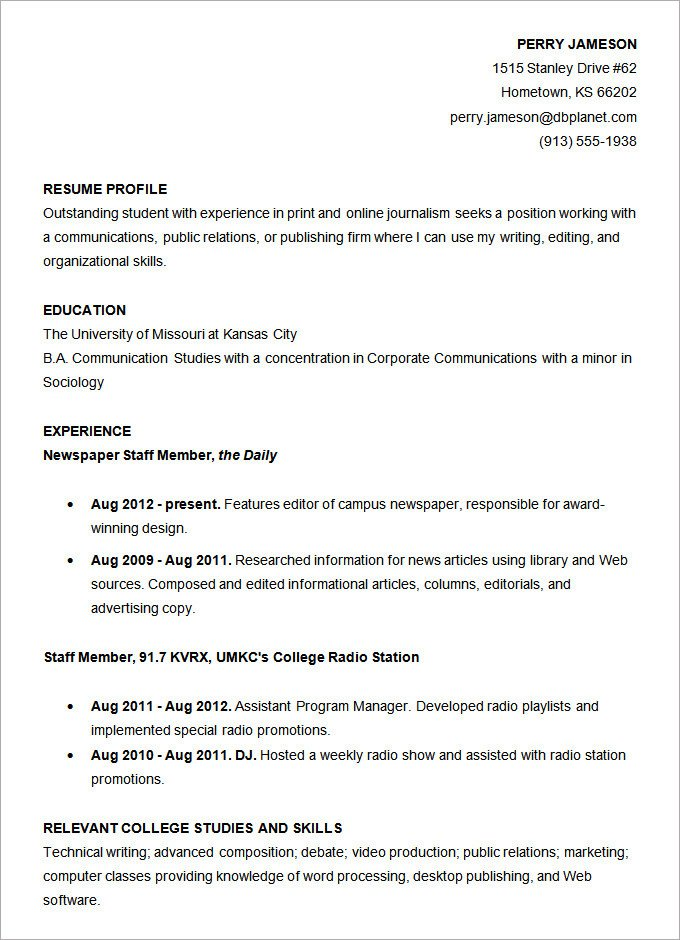 College Freshman Resume Template Resume Templates – 127 Free Samples Examples & format