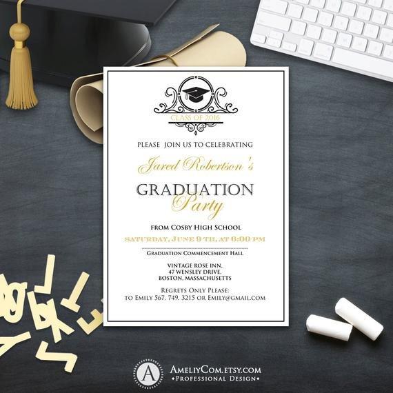 College Graduation Announcements Template Graduation Invitation College Printable Template Boy Girl