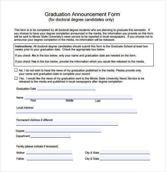 College Graduation Announcements Template Sample Graduation Announcement Template 8 Free