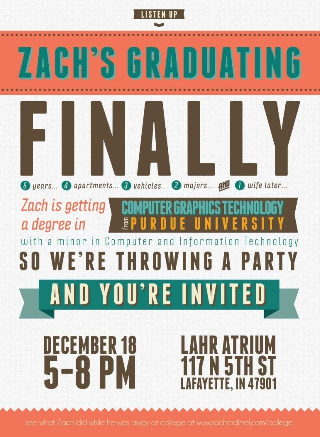 College Graduation Invitation Templates Free Typography Style College Graduation Invitation