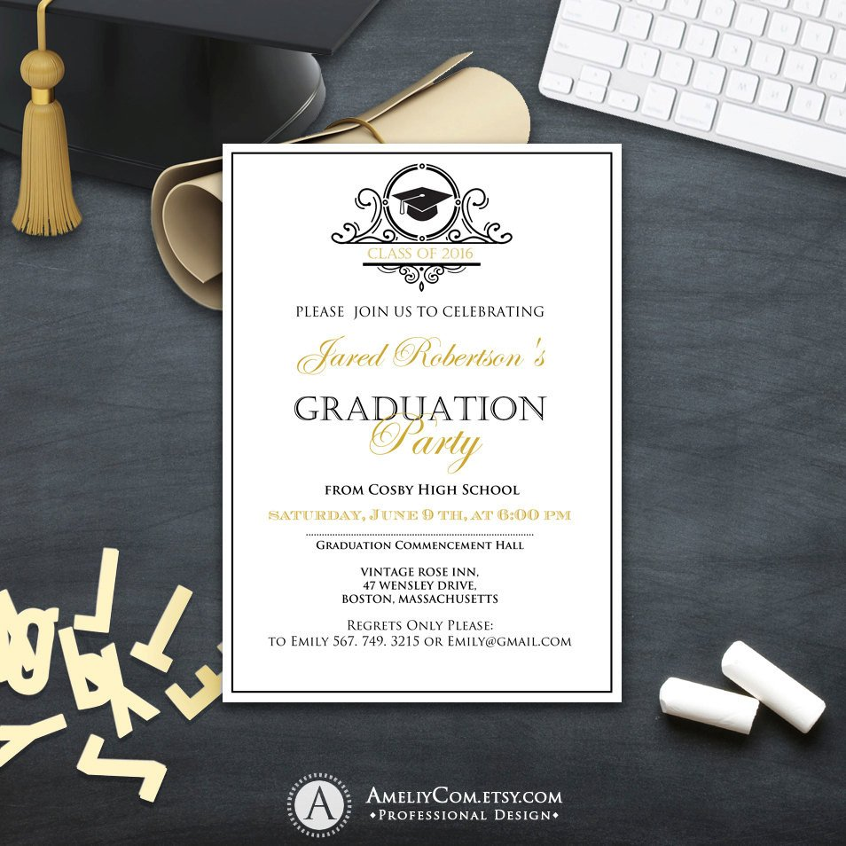 College Graduation Invitation Templates Graduation Invitation College Printable Template Boy Girl