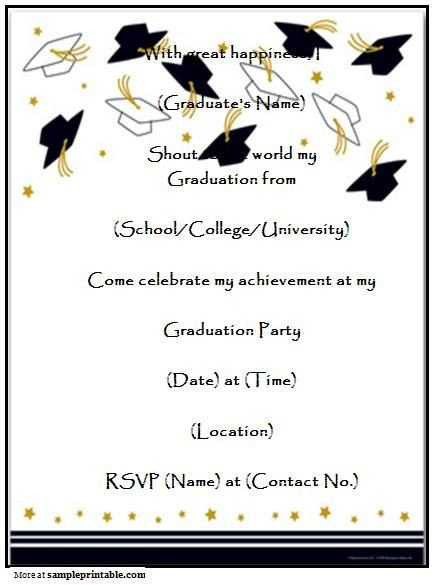 College Graduation Invitation Templates Graduation Party Invitation Templates Free Printable