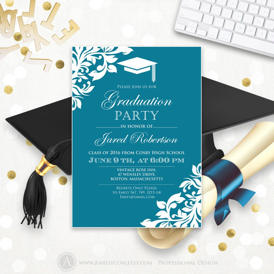 College Graduation Invitation Templates Printable Graduation Party Invitation Template Blue Teal High
