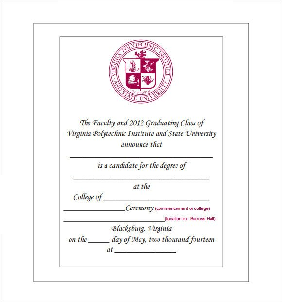 College Graduation Invitation Templates Sample Graduation Announcement Template 8 Free