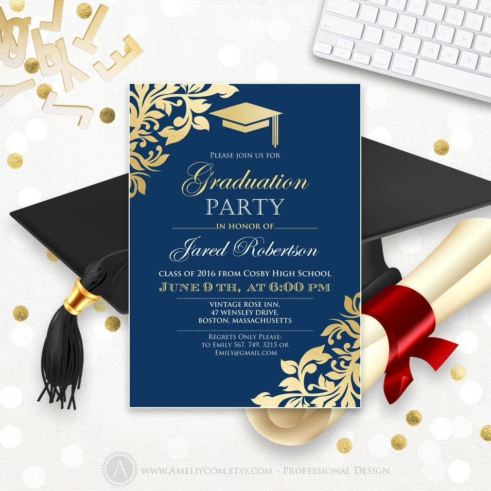 College Graduation Invitations Templates Graduation Announcement Printable Navy Gold College Graduation