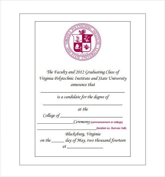 College Graduation Invitations Templates Sample Graduation Announcement Template 8 Free