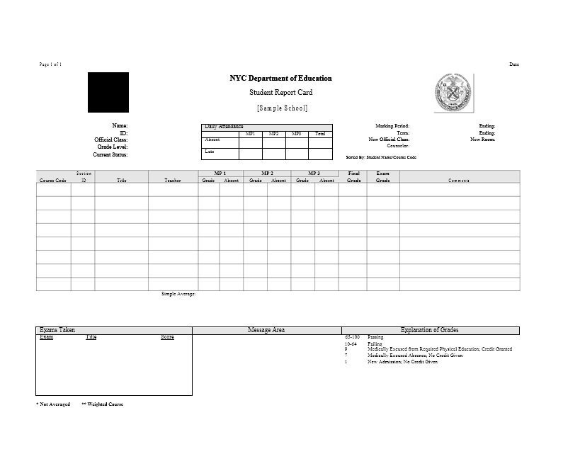 College Report Card Template 30 Real & Fake Report Card Templates [homeschool High