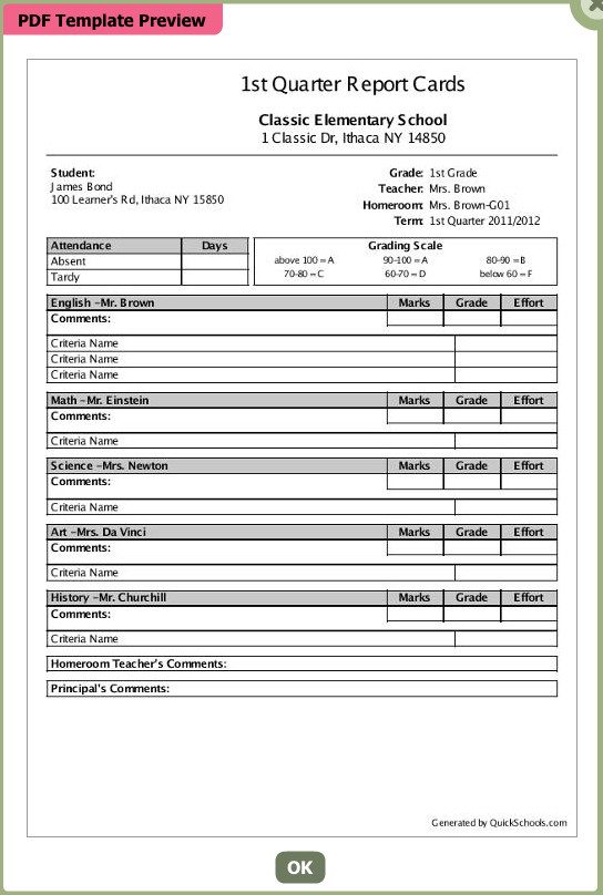 College Report Card Template Select A Template for Your School's Report Card soon