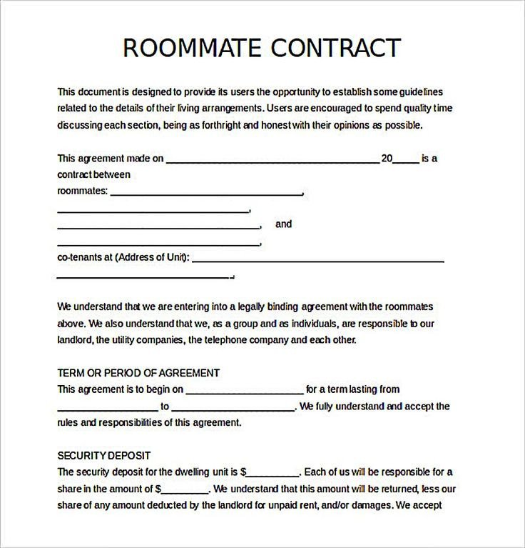 College Roommate Contract Template Best 25 Roommate Agreement Ideas On Pinterest