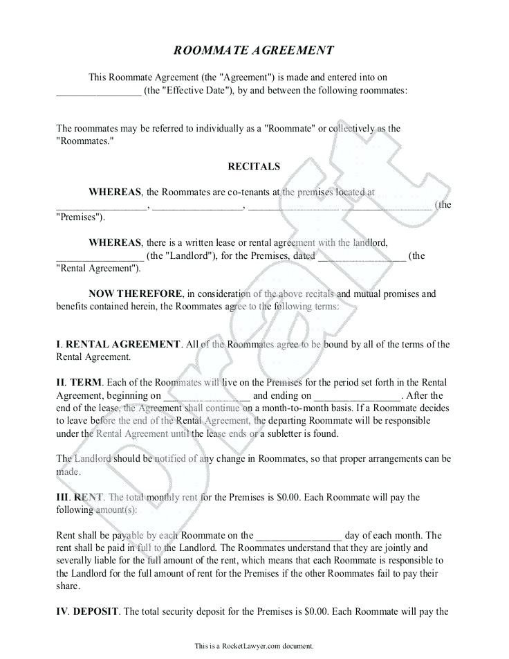 College Roommate Contract Template College Roommate Agreement Template – Syncla
